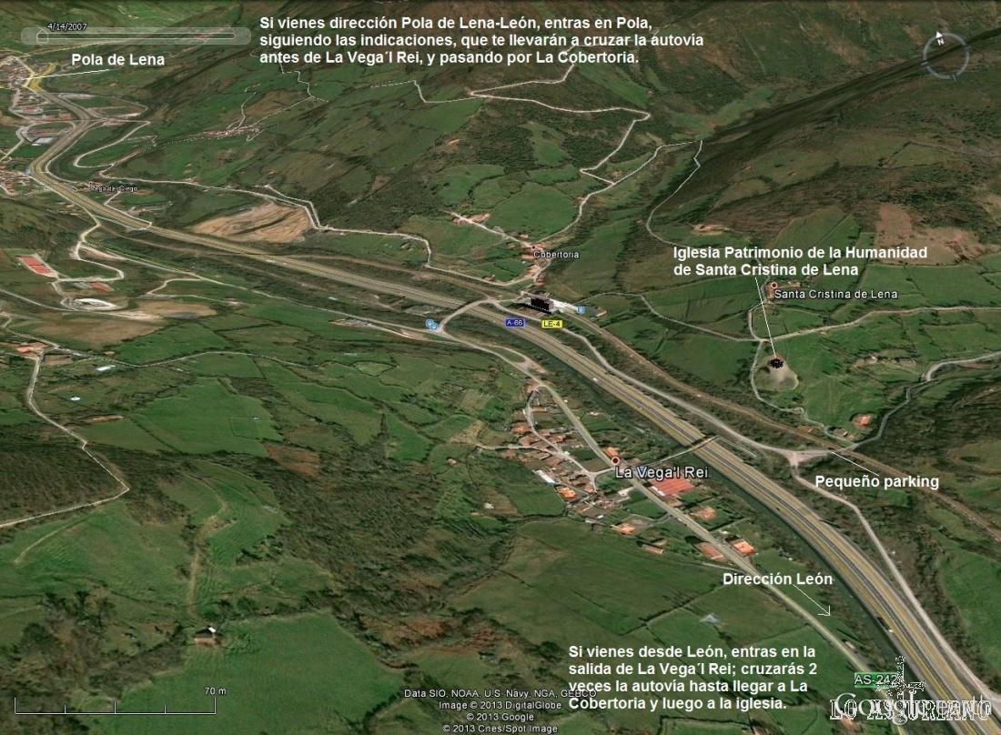 Localización, como llegar a Santa Cristina de Lena