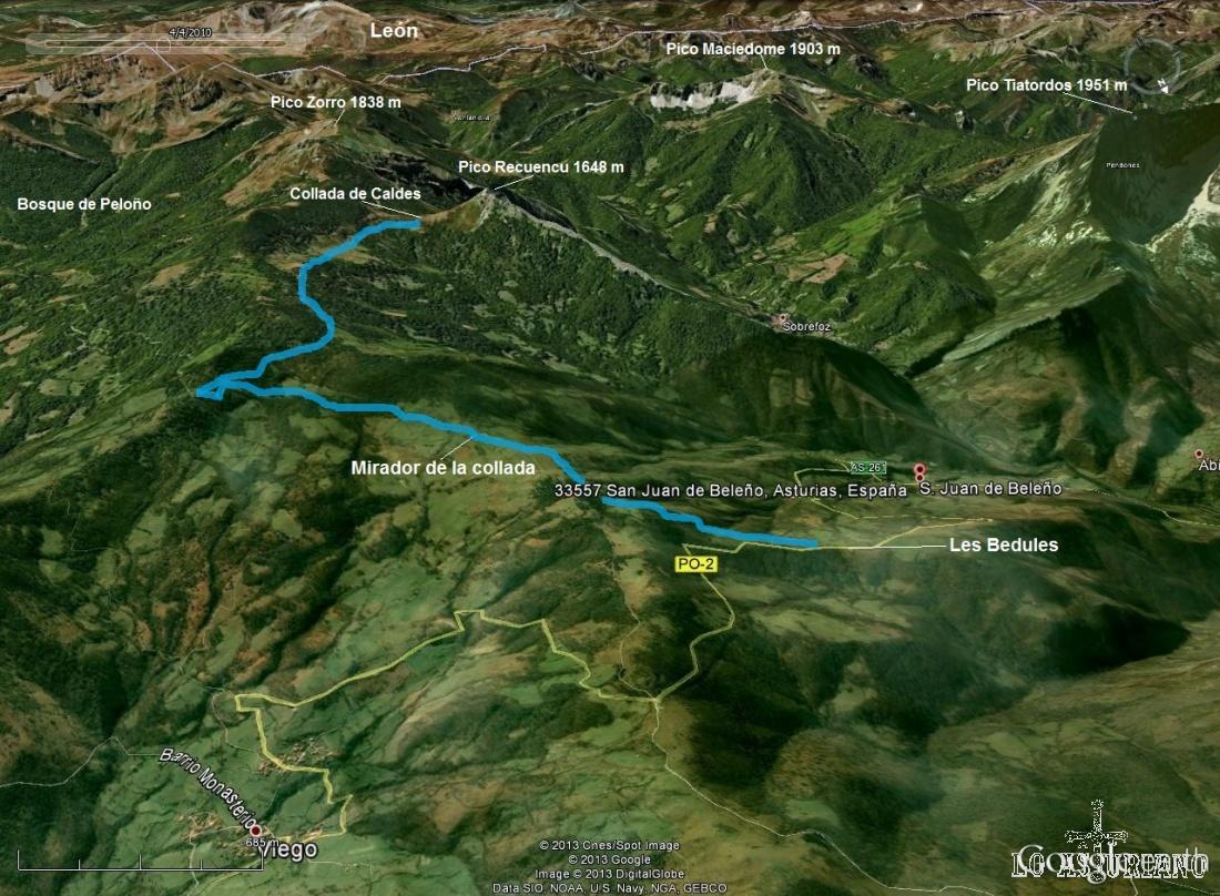 Mapa de la ruta a la collada de Caldes, justo en la base de ascensión al Pico Recuencu, y con unas magníficas vistas al Tiatordos y al Maciedome.