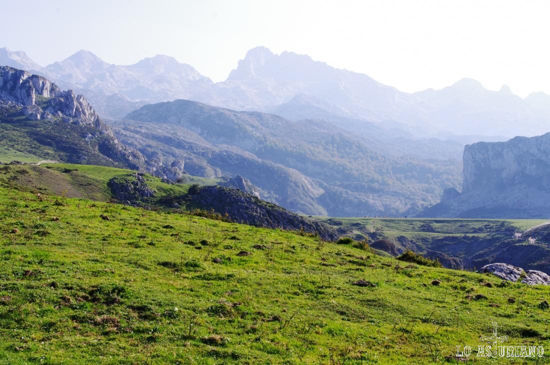 Al fondo, los perfiles de las altas cumbres de los Picos de Europa.