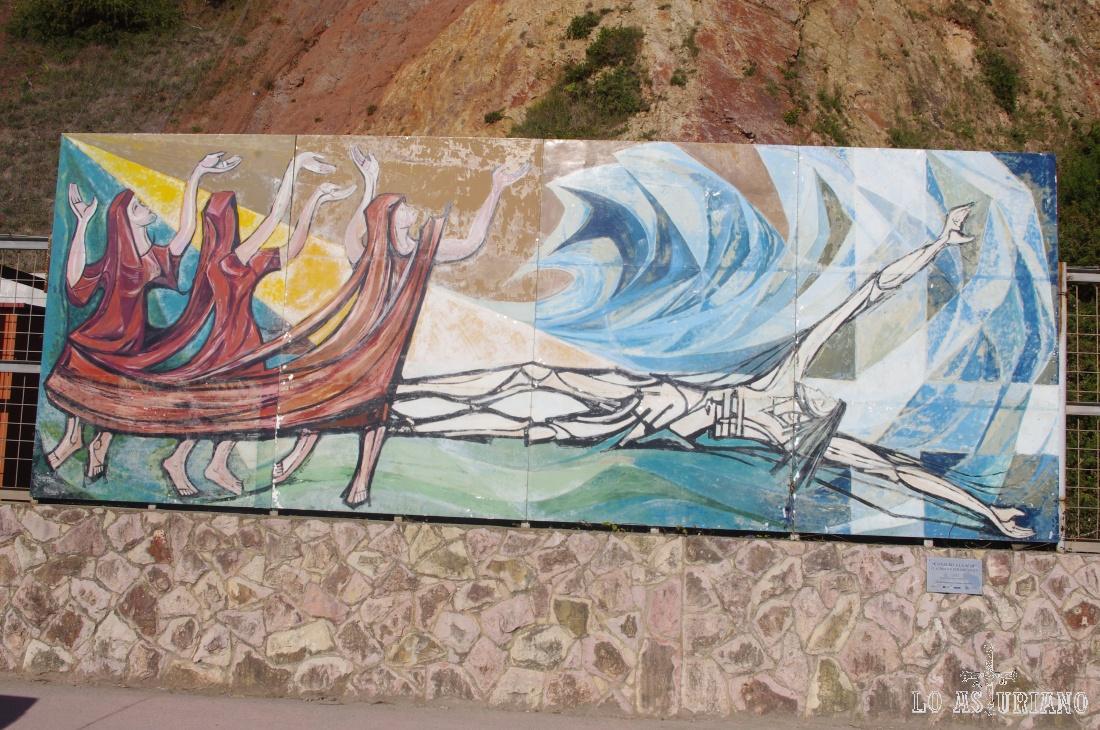 """Mural """"Conjuro a la mar"""", del artista mexicano Claudio Favier Orendain, en el puerto de Candás."""