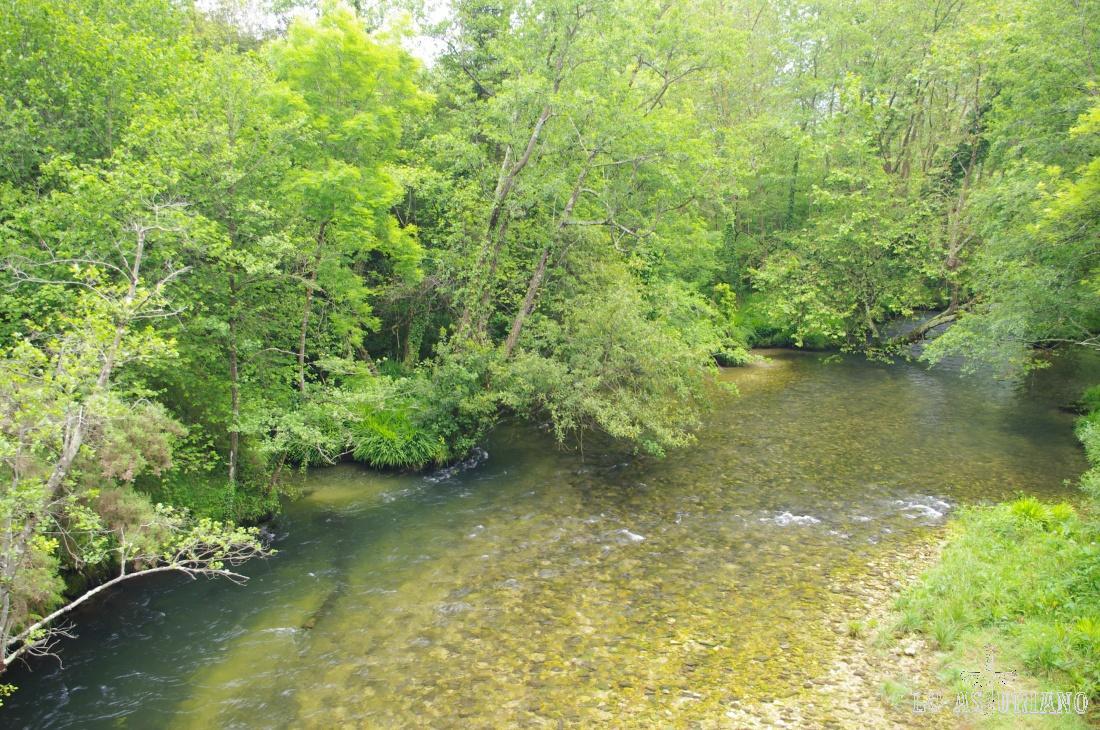 El río Purón, cuyas aguas recogidas en la sierra del Cuera, están a punto de llegar al Cantábrico.