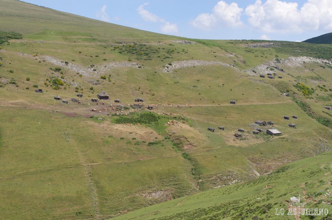 Instalada en las laderas del cordal de la Mesa, disfrutamos de las imágenes de la enorme cabaña ganadera de la braña.