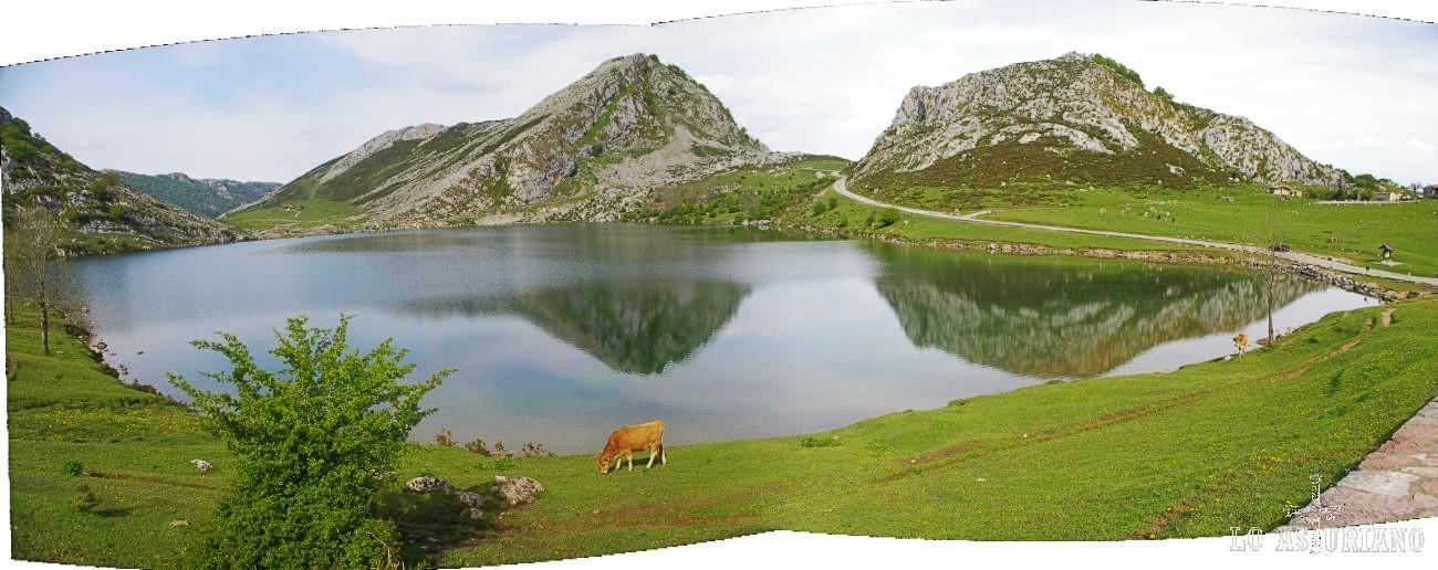El lago de Enol, el más conocido de los lagos de Covadonga.