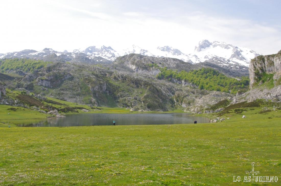 El lago de la Ercina desde el parking habilitado a unos metros del mismo.