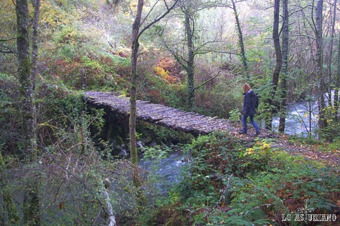 Puente sobre el transparente río Ibias, antes de subir hacia el idílico El Corralín.