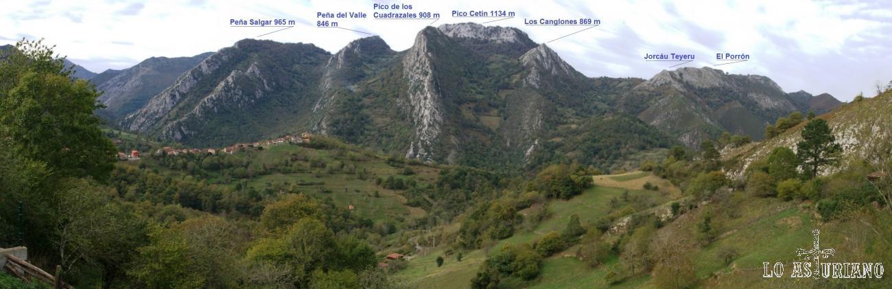 Vistas hacia el oeste desde Pen, Amieva, hacia la zona de los montes Cea y Cetín.