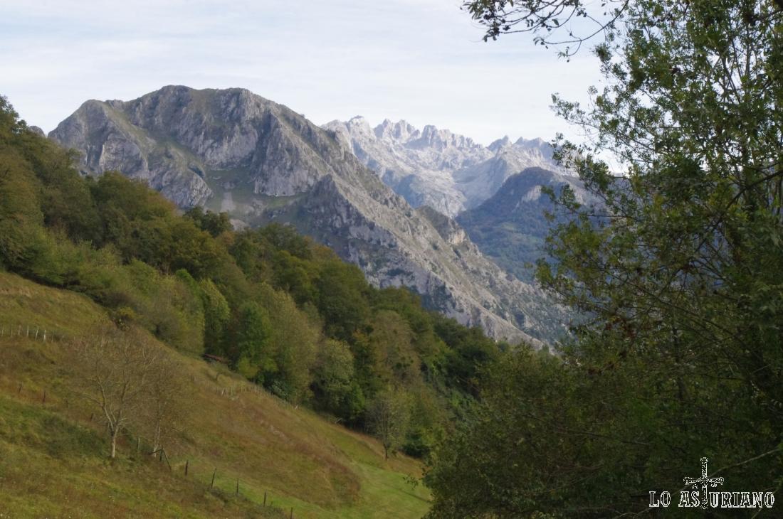 La sierra de Amieva y detrás, el macizo occidental de Picos de Europa.