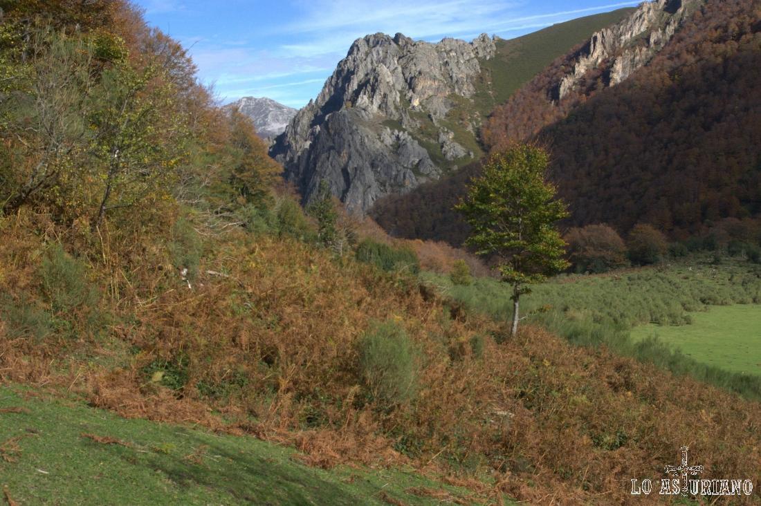 El Collado Vallinatras y el Cueto Negro, a los que perderemos pronto de vista, ya que vamos directos hacia el bosque.