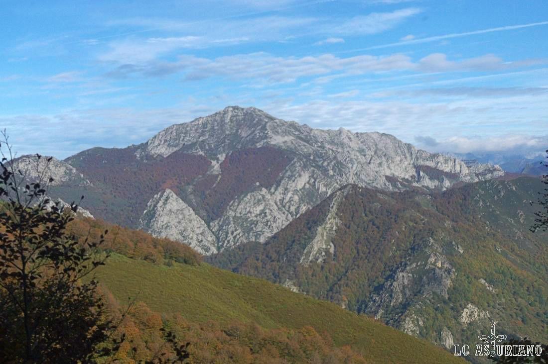 El Maciédome, segunda cima de Ponga, desde el bosque Fabucado, en Caso.
