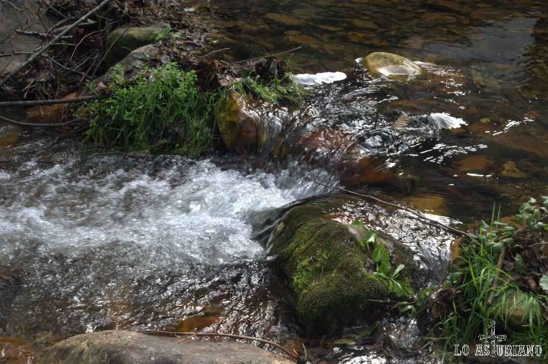 Aguas del río Val de carzana a su paso por Teverga; el río nace del regato Tuiza y el arroyo el regato, en el puerto de San Lorenzo.