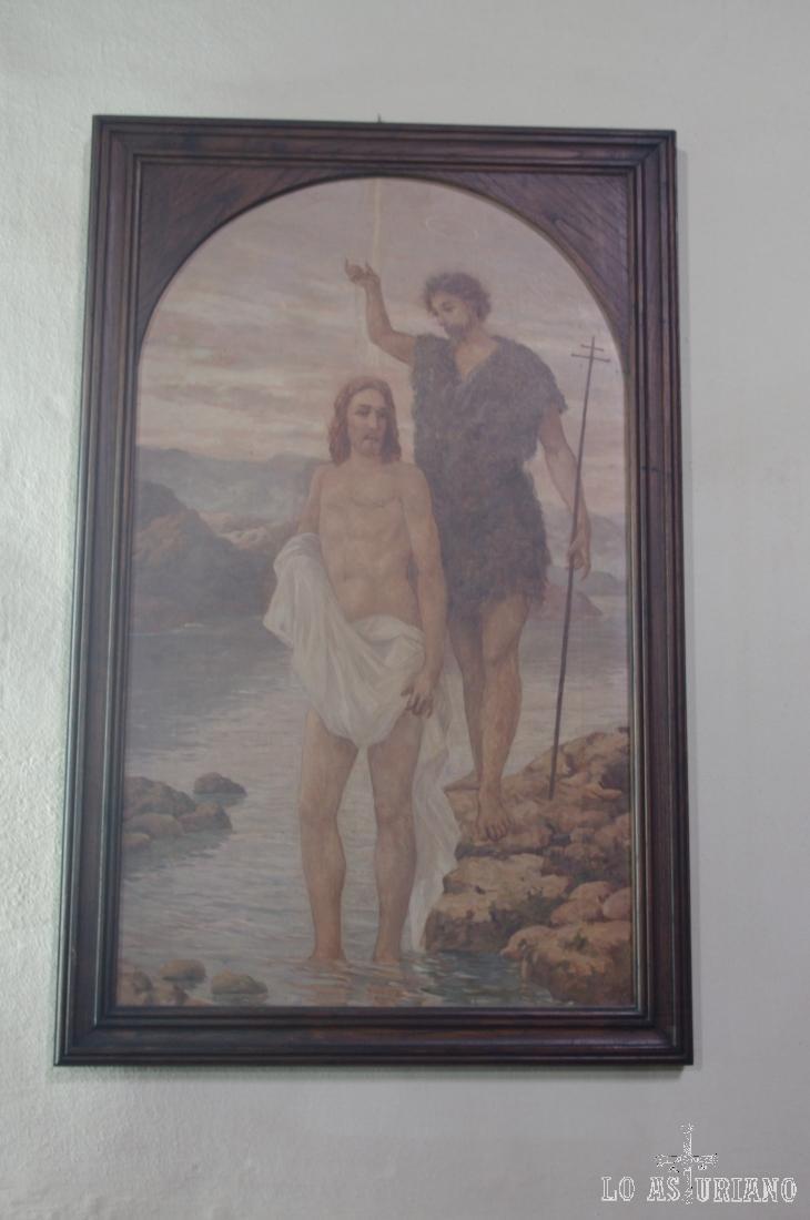 Cuadro del bautismo de Jesús por San Juan Bautista.
