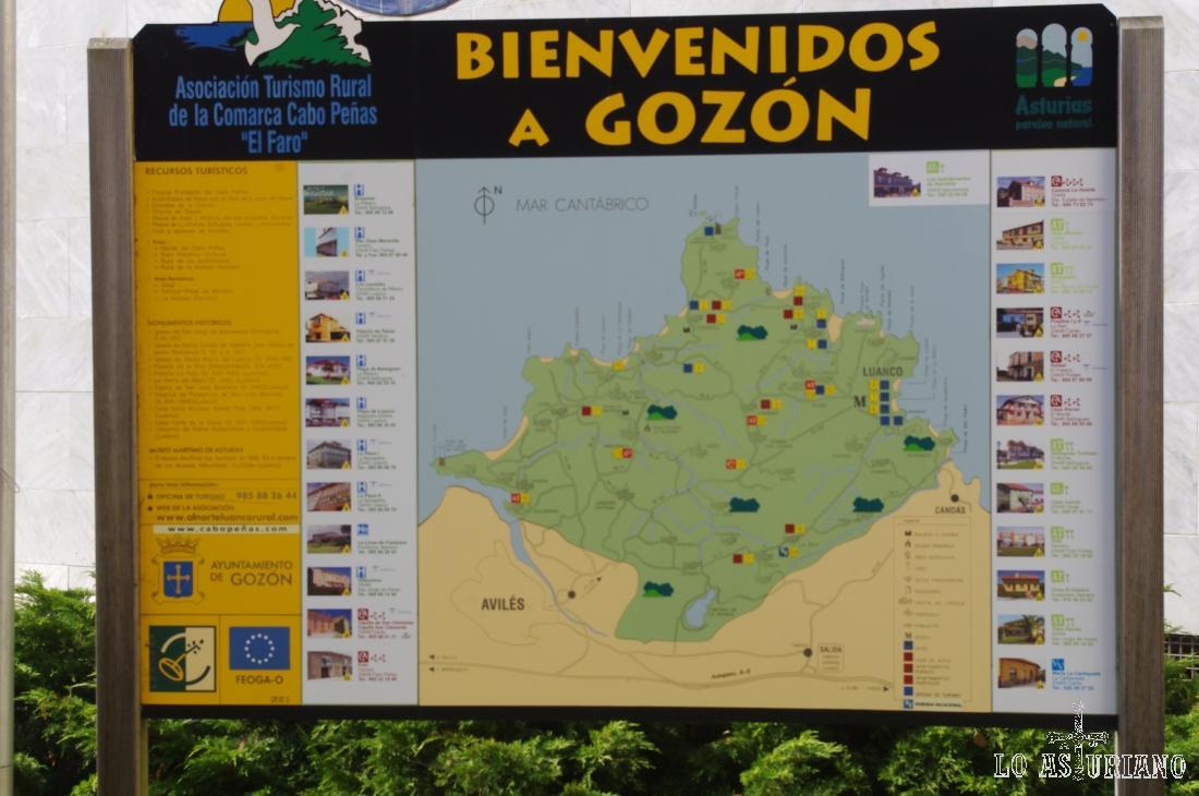 Panel explicativo de los puntos de interés de Gozón.