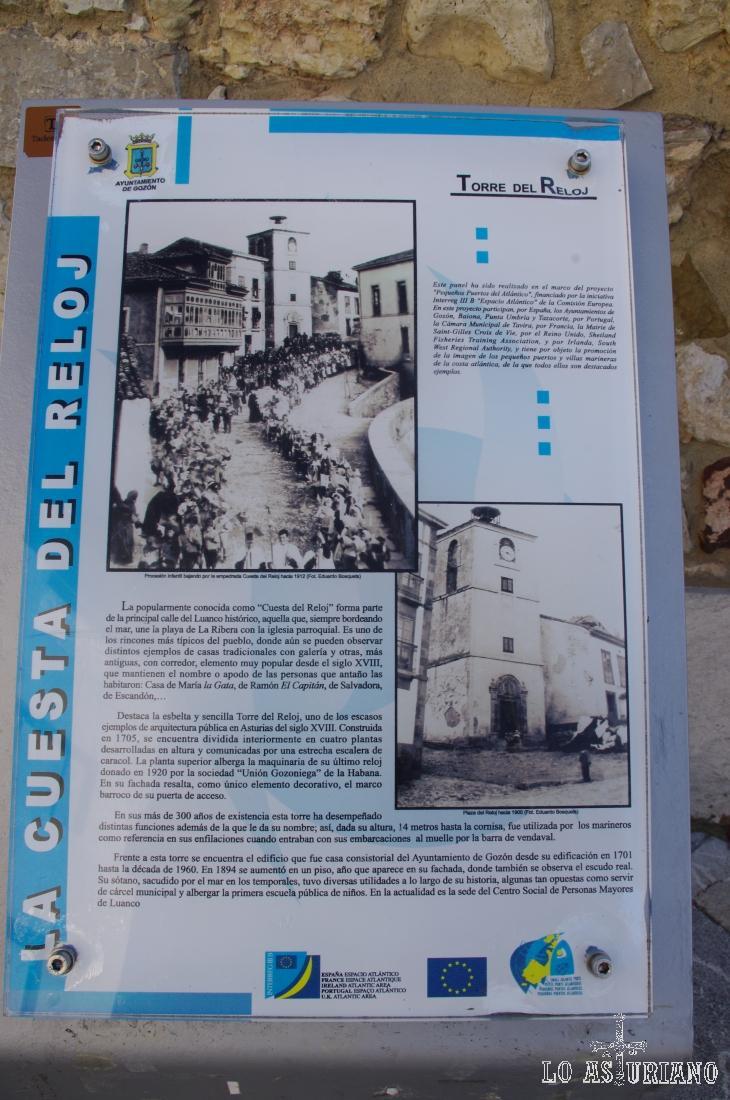 Pancarta explicativa en la torre del Reloj de Luanco, que entre otras cosas fue utilizada como cárcel.