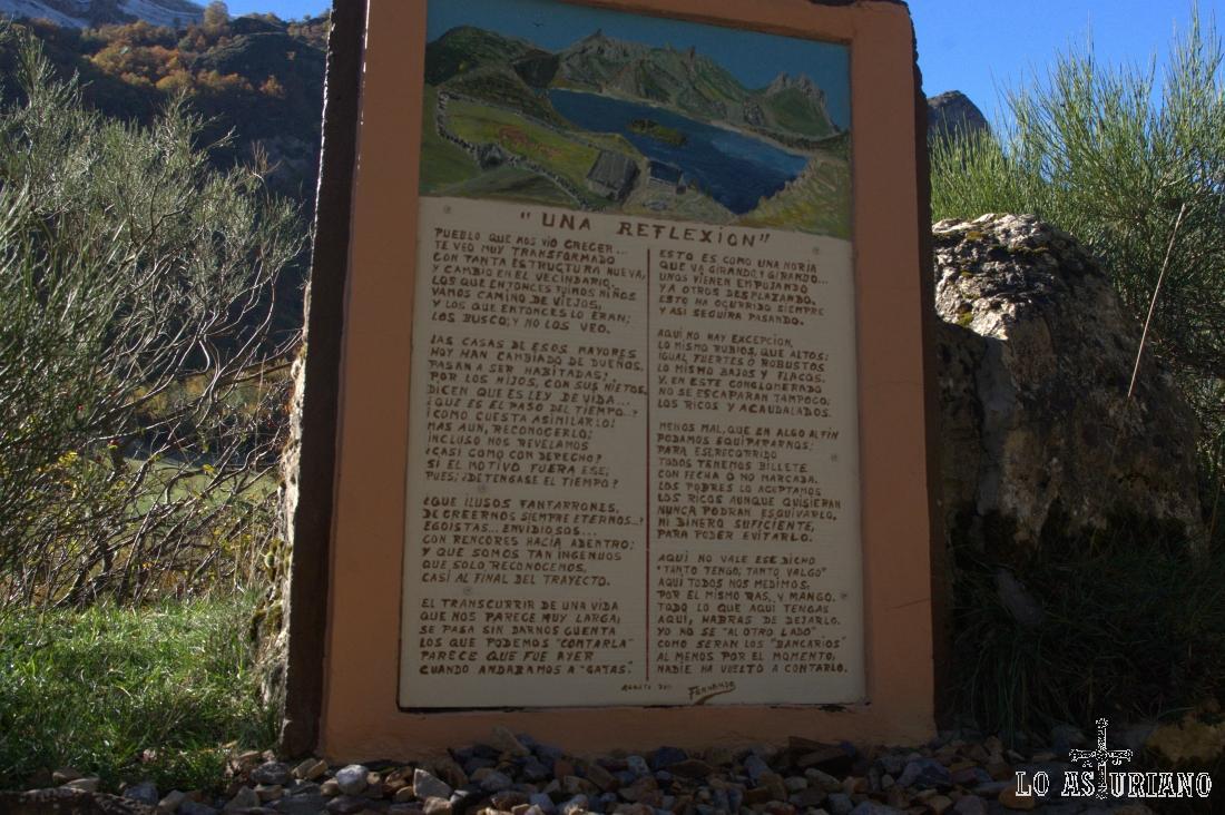 Este panel entiendo que es una poesía, que algún paisano colocó en el camino hacia el Lago del Valle.