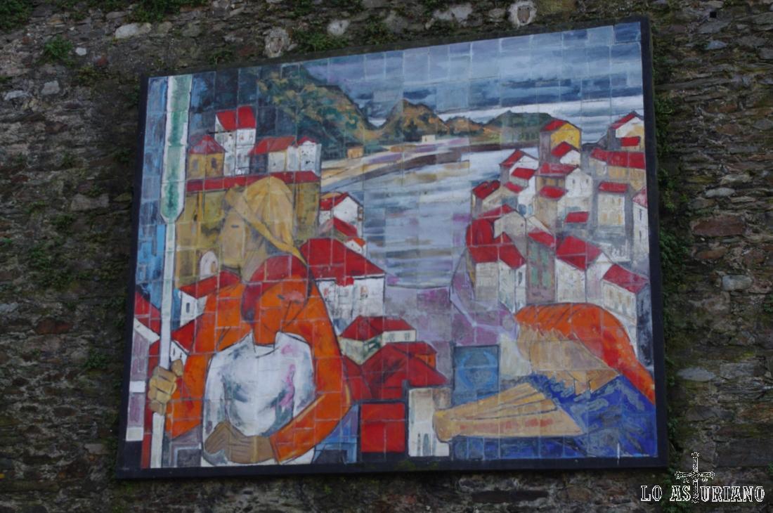 """Mural llamado """"El pescador"""", obra de Jesús Casaús en Cudillero."""