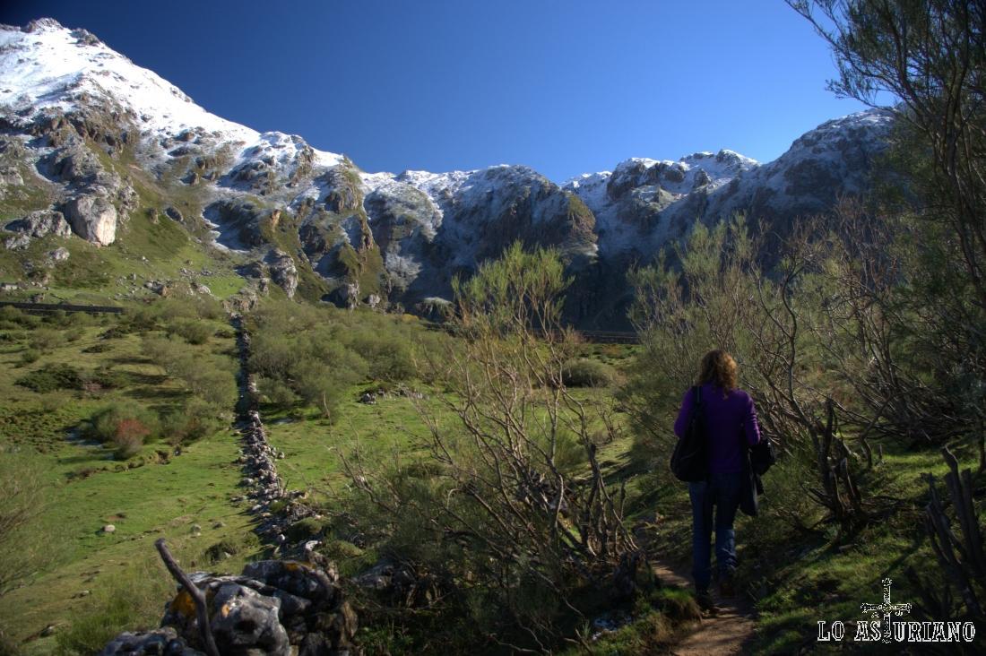 En la imagen, por el pose curvado de las laderas, se entiende muy bien el origen glaciar (circo glaciar) del lago del Valle.