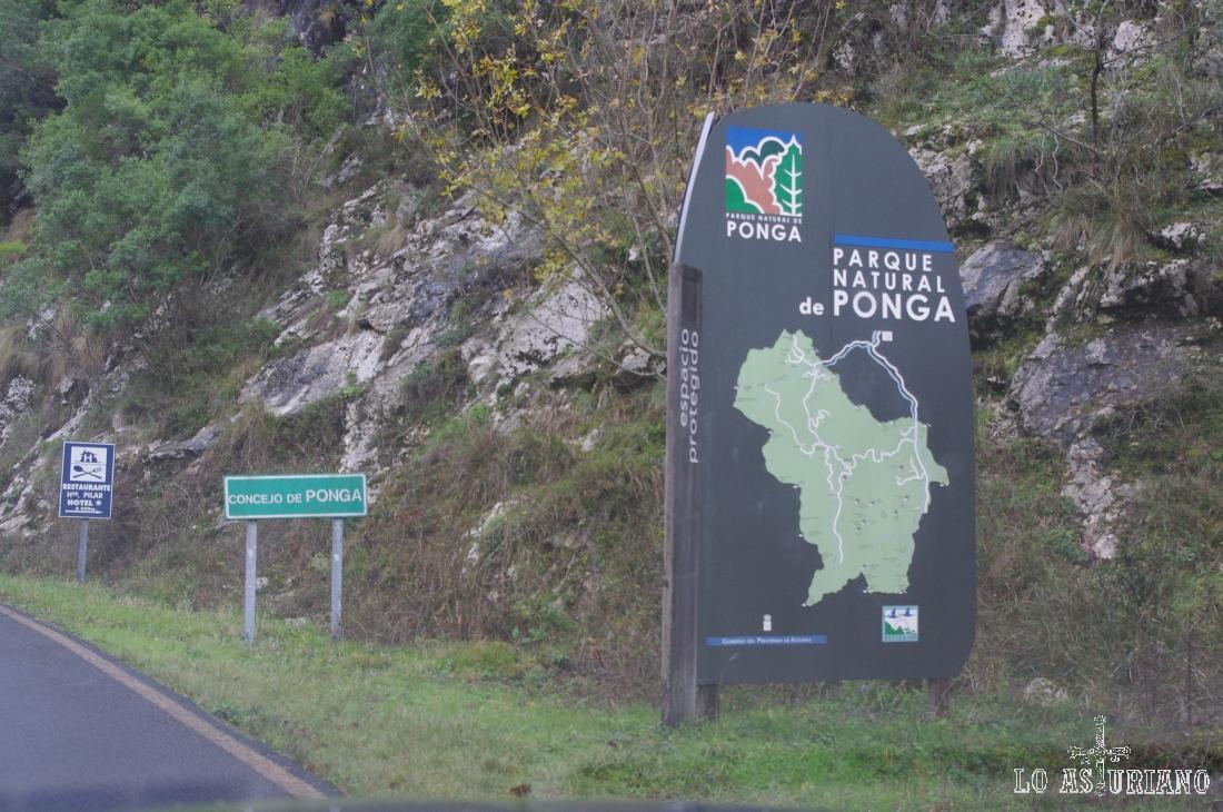 Entrada al concejo de Ponga, que es también la entrada al Parque Natural de Ponga.
