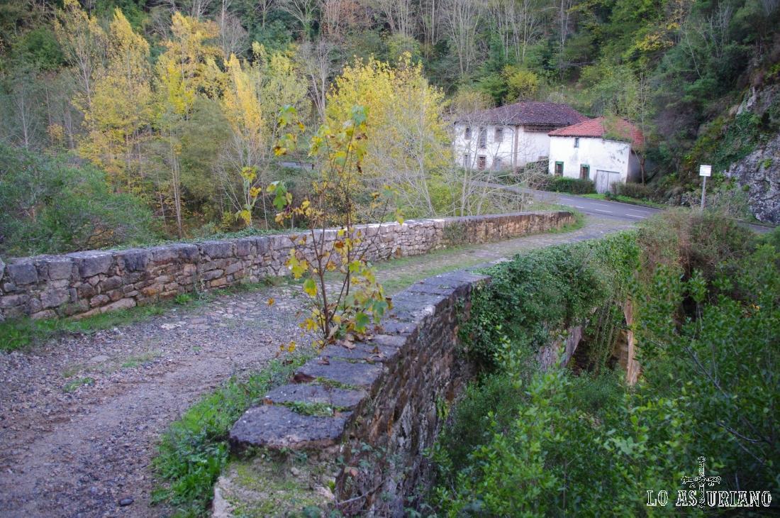 """Puente medieval en la zona de Los Grazos, Amieva. Decir, que también hay lugareños que le llaman: """"puente de los Brazos""""."""