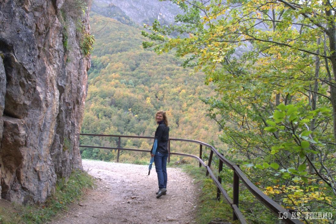 Empieza esta zona de baranda, que nos va orientando hacia el valle del Sousas, y que es un bonito mirador de Peña Furada y del bosque de la Enramada.