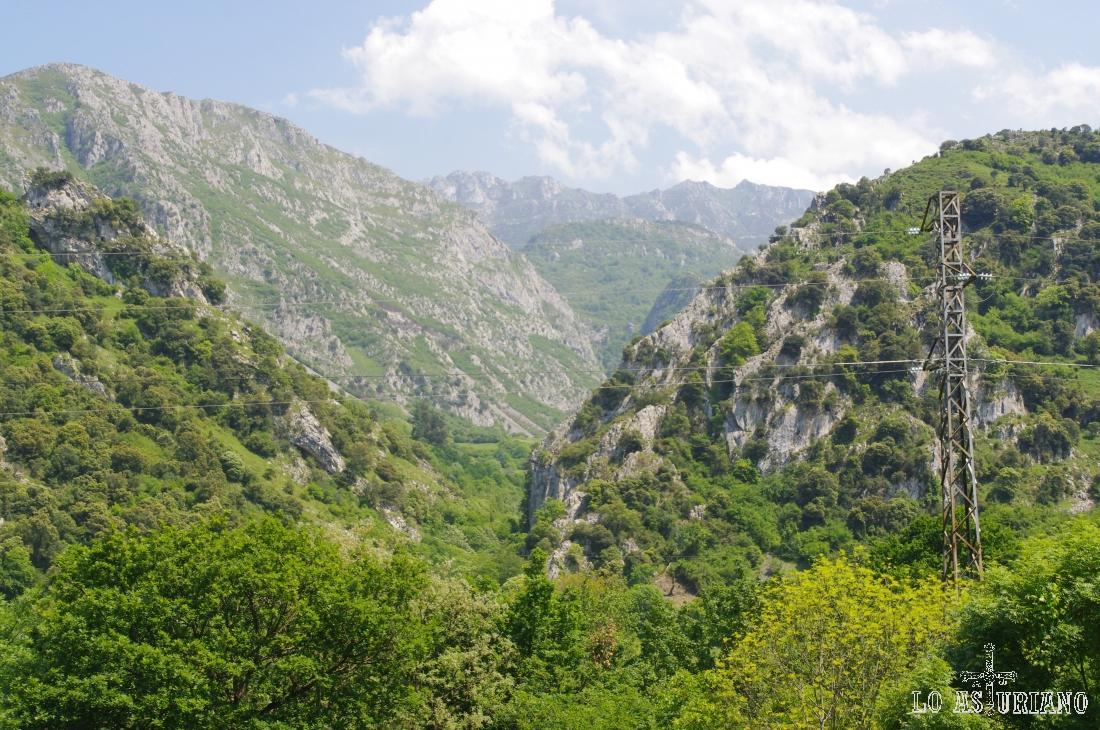 La sierra del Aramo a la izquierda, con sus cimas mayores al fondo.