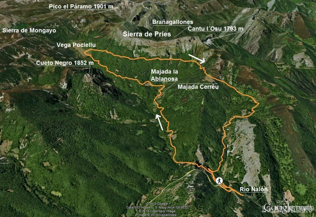 Mapa de la ruta a la Vega Pociellu, pasando por la majada de la Ablanosa y volviendo por la majada Cerréu.